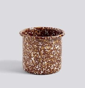 HAY Enamel Herb Pot Sprinkle Brown
