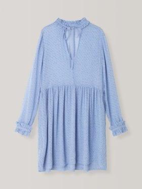Ganni Forever Blue Printed Georgette Kjole