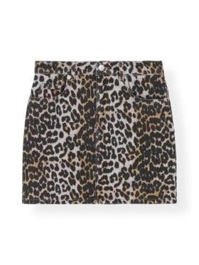 Ganni Print Denim Skirt Leopard