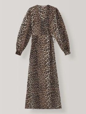 Ganni Silk Stretch Satin Kjole Leopard