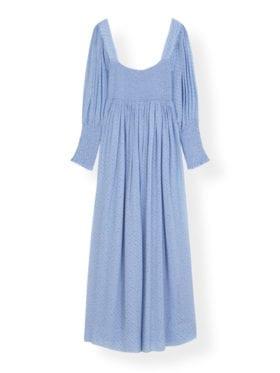 Ganni Printed Georgette Kjole Forever Blue