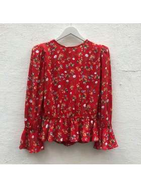 by TiMo Flounce Blouse Red Garden
