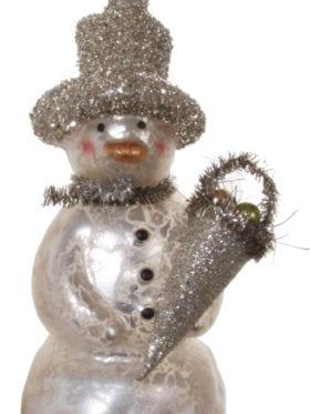 ShiShi  Glass snowman white w/glitter hat
