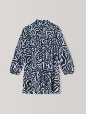 Ganni Printed Cotton Poplin Minikjole Forever Blue