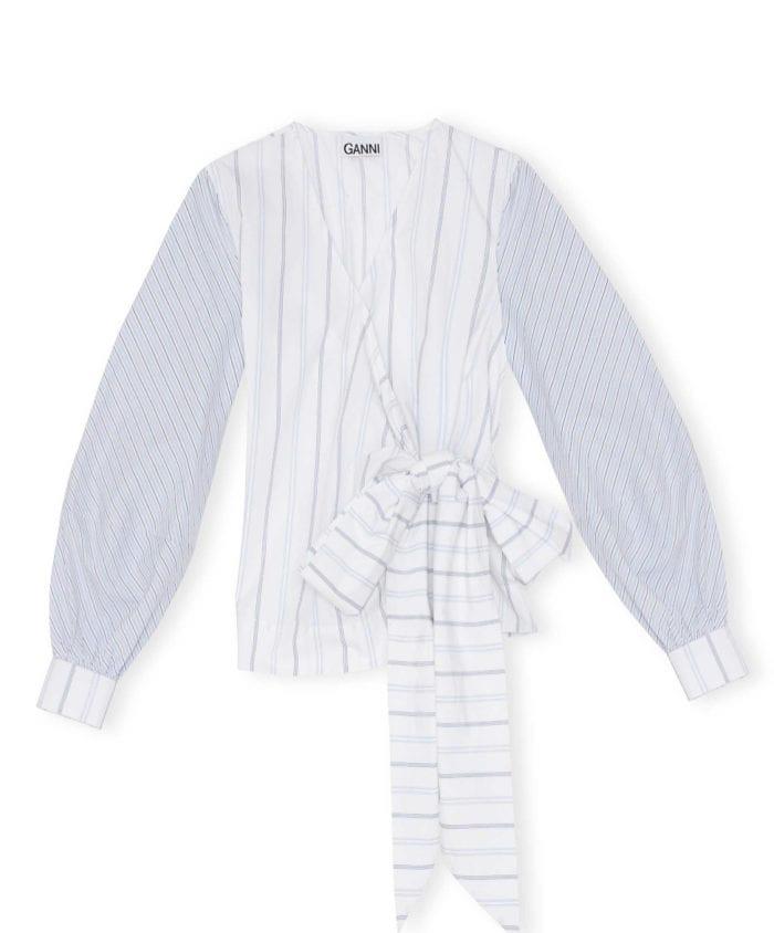 Ganni Shirting Cotton Omslagsbluse Block Colour