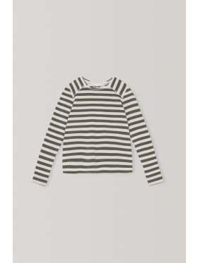 Ganni Stripe Cotton Jersey Langermet T-skjorte Kalamata
