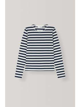 Ganni Stripe Cotton Jersey Pullover Nature Dress Blues
