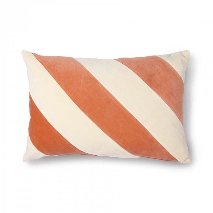 HK Living Striped Cushion Velvet Peach Cream
