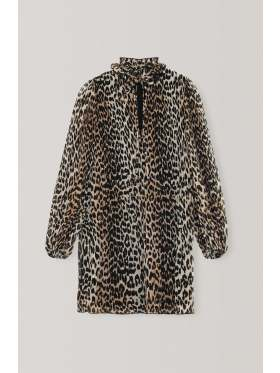 Ganni Pleated Georgette Kjole Leopard