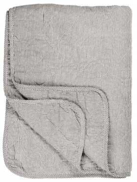 IB Laursen Quilt Sengeteppe hvit/mørkegrå striper