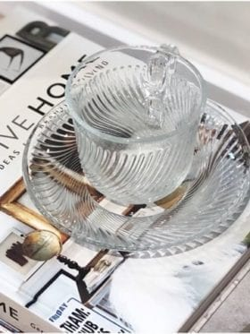 Hay Pirouette cup and saucer 150ml clear
