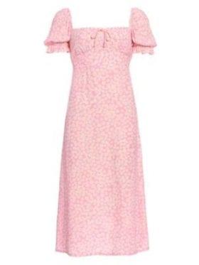 Faithfull Evelyn Midi Kjole Dusty Floral Pink