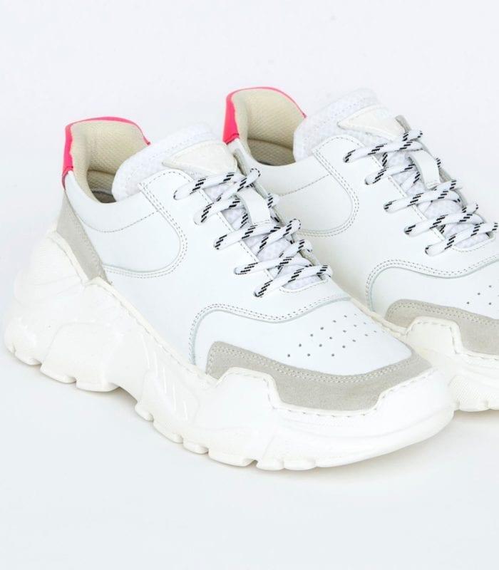 Läst Sprint Leather Sneakers Hvit/Rosa