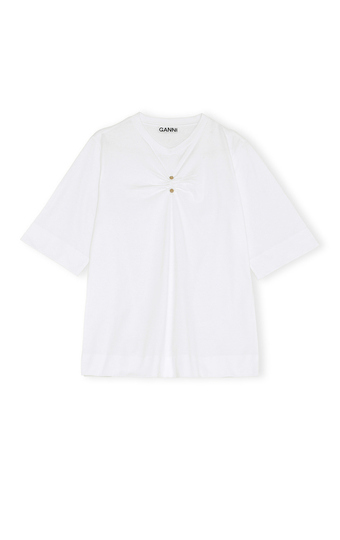 GANNI Basic Cotton Jersey T-skjorte Hvit