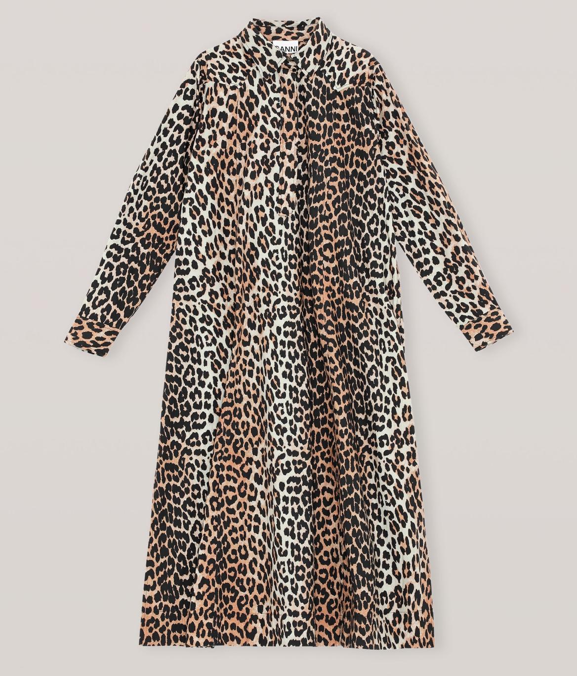 GANNI Printed Poplin Maxi Kjole Leopard