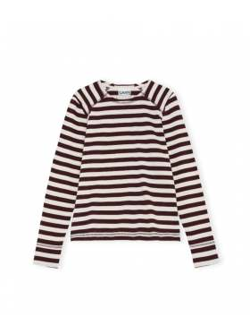GANNI Striped Cotton Jersey Brun