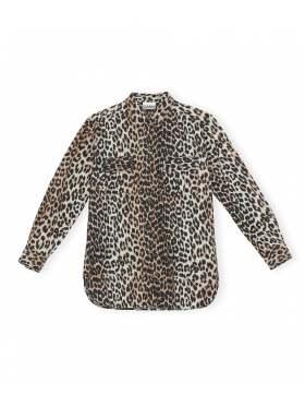 GANNI Printed Cotton Poplin Skjorte Leopard