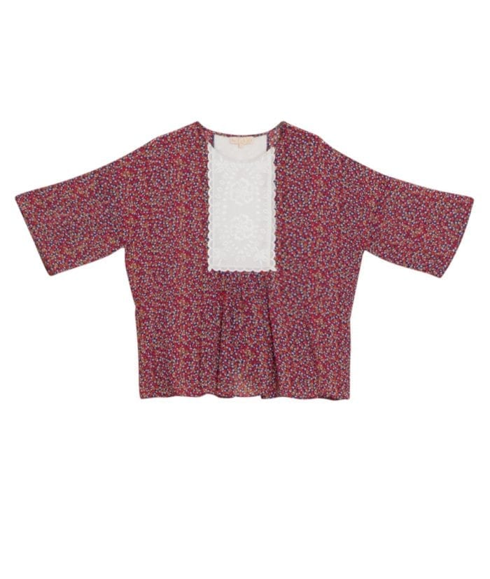 by TiMo Semi Broderie Bluse Small Flowers