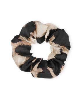 GANNI Silk Linen Scrunchie Leopard