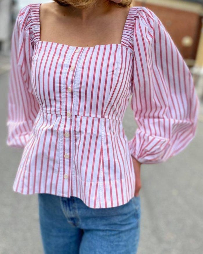 GANNI  Stripe Cotton Bluse Lollipop