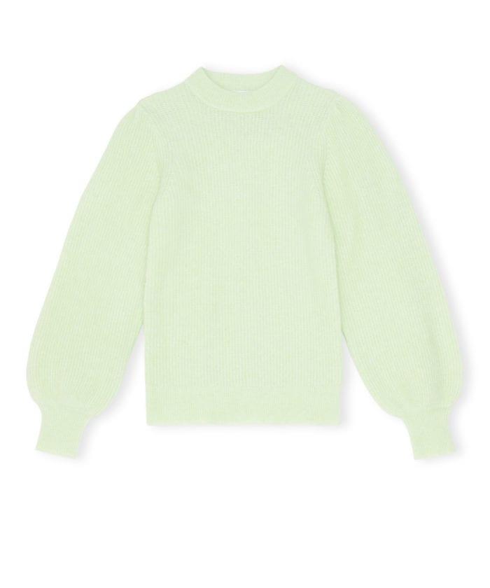 GANNI Soft Wool Knit Genser Patina Grønn