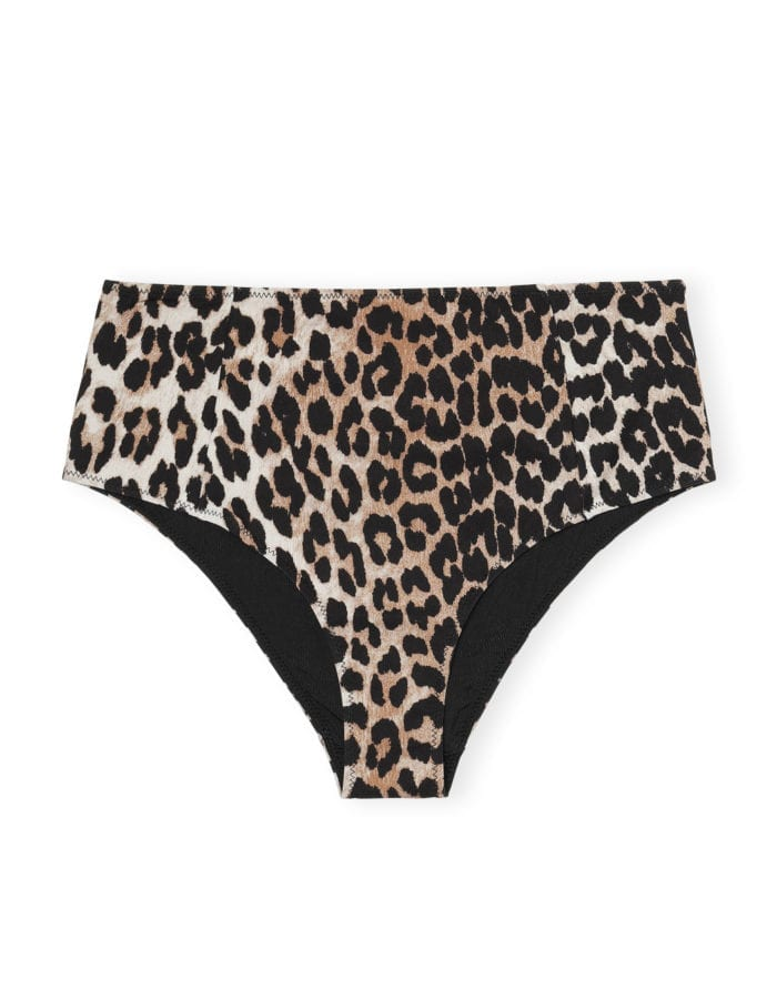 GANNI Recykled Crisp Highrise Bikini Underdel Leopard