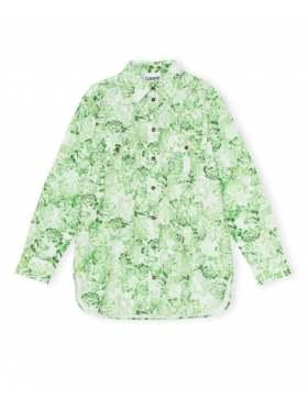 GANNI Printed Cotton Poplin Skjorte Island Grønn