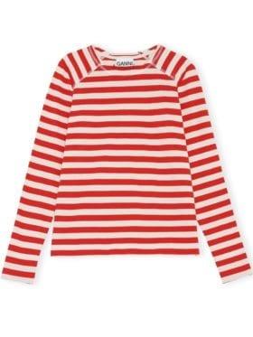 GANNI Striped Cotton Genser Rød