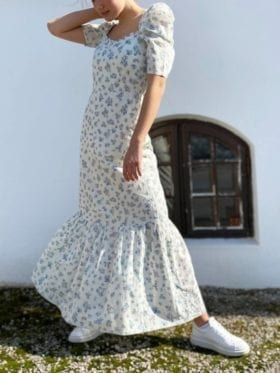 Pia Tjelta Billie Dress Print Spring Leaves