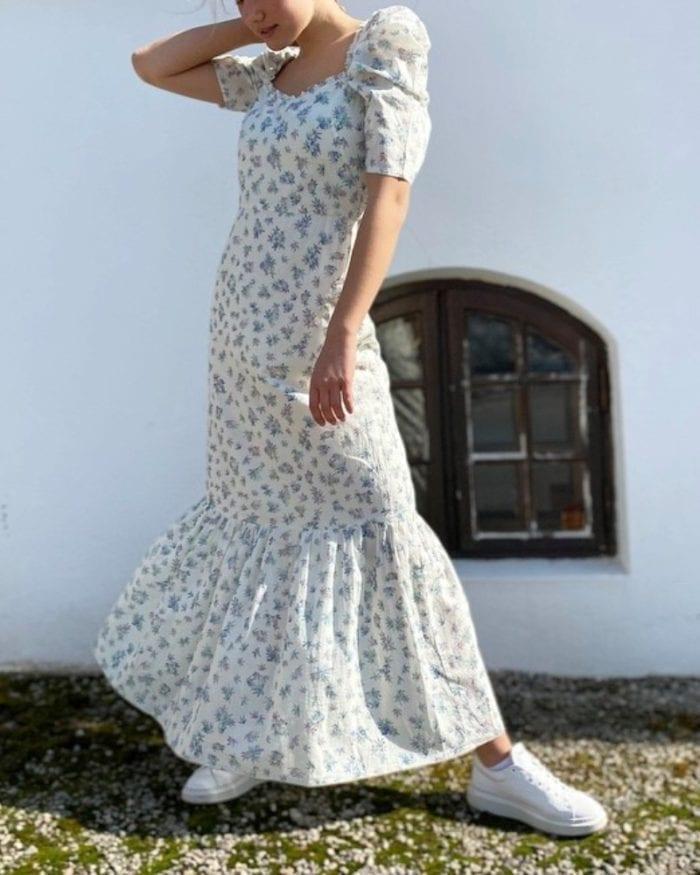 Pia Tjelta Billie Dress Print Spring Leaves