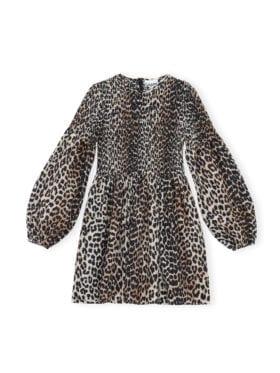 GANNI Cotton Silk Mini Smock Kjole Leopard