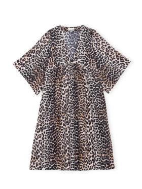GANNI Cotton Silk Kjole Leopard