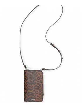 GANNI Leather Phone Veske Leopard