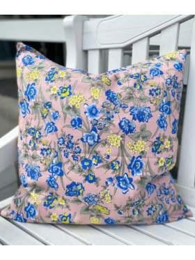 byIDA Pute Rosa Blå Blomster 50x50