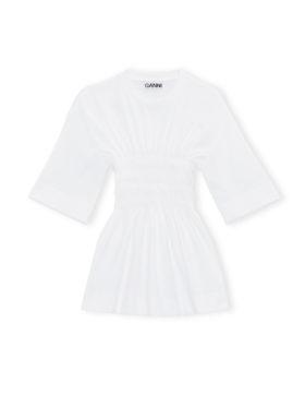 GANNI Basic Cotton Jersey Smock T-skjorte Hvit