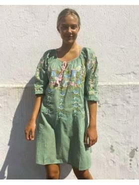 Anouska Love Shack Embroidery Kjole Grønn