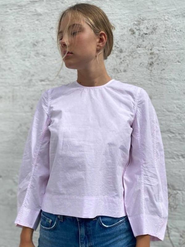 GANNI Printed Cotton Poplin Bluse Cherry Blossom