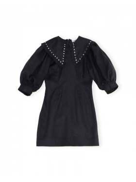 GANNI Light Linen Mini Dress Phantom