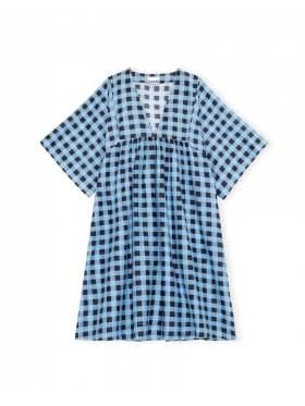 GANNI Cotton Silk Kjole Alaskan Blue