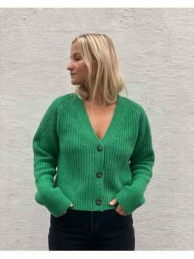 GANNI Rib Knit Cardigan Follage Green