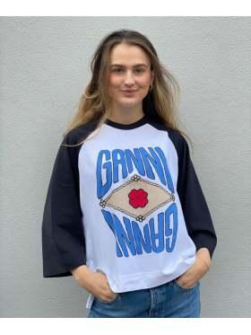 GANNI Basic Cotton Jersey Oversized T-skjorte Mirrored