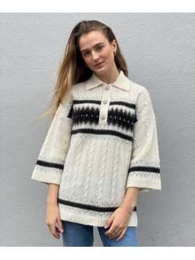 GANNI Alpaca Knit Oversized Genser Offwhite