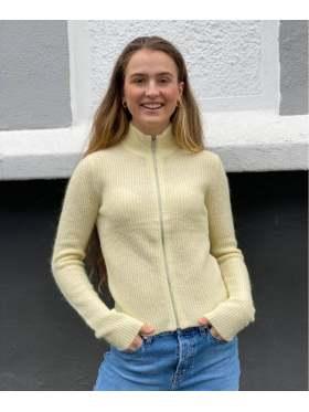 GANNI Soft Wool Knit Zip Cardigan Gul