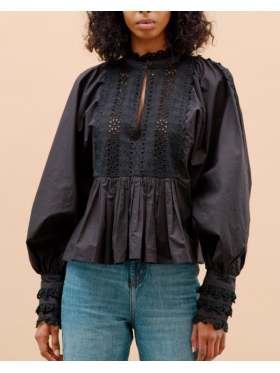 by TiMo Broderie Anglaise Bluse Sort