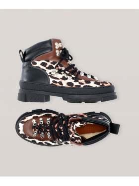GANNI Hiking Mix Sporty Boots Leopard
