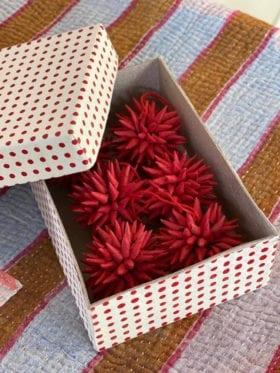 Afro Art KOTTE Mini Julepynt 6 pakk Rød