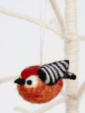 Afro Art Bird Striped Rød Julepynt