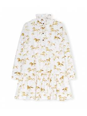 GANNI Printed Cotton Poplin Oversized Kjole Hvit