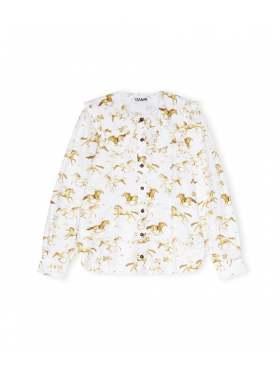 GANNI Printed Cotton Poplin Skjorte Hvit